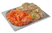 Raw fresh meat in the marinade — Stock Photo