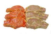Fresh raw meat on the rib sauce marinade — Stock Photo