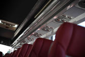 Tourist bus ceiling with lighting — Stock Photo