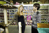 The family is shopping in a supermarker — Stock Photo