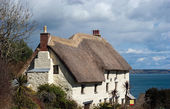 Rieten cottage kerk cove cornwall — Stockfoto
