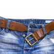 Jeans and leather belt — Stock Photo