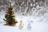 Couple of toy snowmen — Stock Photo