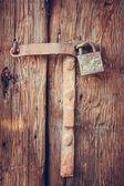 Old padlock on a wooden door — Stock Photo