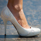 White shoe of the Bride — Stock Photo