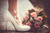 White shoe of the Bride — Stock Photo