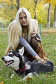 Krásná dívka se psem — Stock fotografie