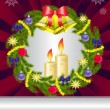 Stock Vector: Candles and a Christmas wreath