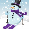 Snowman on skis — Stock Vector
