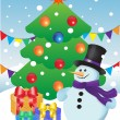 Snowman and gifts at Christmas tree — Stock Vector #12406436