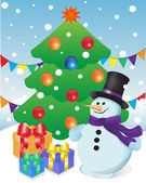 Snowman and gifts at Christmas tree — Stock Vector