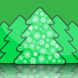 Stock Vector: Simple christmas tree with decorations of snowflakes