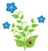 Blue flowers with leaves and swirls — Stock Vector