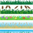 Set seamless grass and flowers — Stock Vector