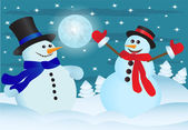 Two snowmens — Stock Vector