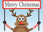 Christmas deer with a congratulatory poster — Stock Vector