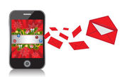 Téléphone mobile avec nouvel an fond envoie des messages — Vecteur