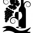 Black-and-white image of wine — Imagen vectorial
