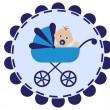 Stroller with baby — Stock Vector