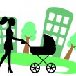 Stock Vector: Silhouette of womwith baby carriage