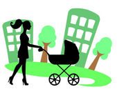Silhouette of a woman with a baby carriage — Stock Vector