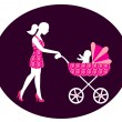 Womwith stroller — Stock Vector #13988287