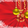 Christmas balls on red background — Vecteur #14048338
