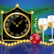 Christmas card with clock, champagne and Christmas ornaments — Vector de stock #14173903