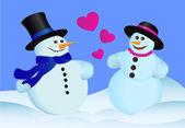 Любовь снеговики — Cтоковый вектор