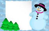 Muñeco de nieve con banner — Vector de stock
