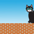 Sad cat sitting on bricks — Stock Vector