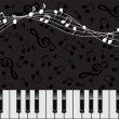 Stock Vector: Musical background with keys and notes