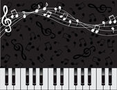 Musical background with keys and notes — Stock Vector