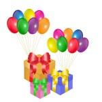 Gift box and balloons — Stock Vector
