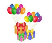 Dárkové krabice a balóny — Stock vektor