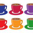 colorful cups — Stock Vector