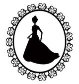Retro silhouette woman in frame — Stock Vector