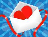 Hart in de envelop — Stockvector