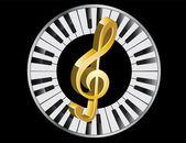 Golden treble clef — Stock Vector