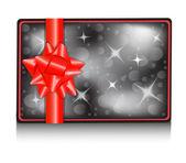Carte-cadeau avec un arc — Vecteur