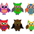 Stock Vector: Collection of cartoon owls