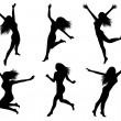 Set silhouettes of jumping women — Stock Vector