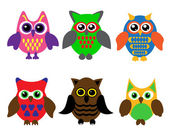 Collection of cartoon owls — Stock Vector