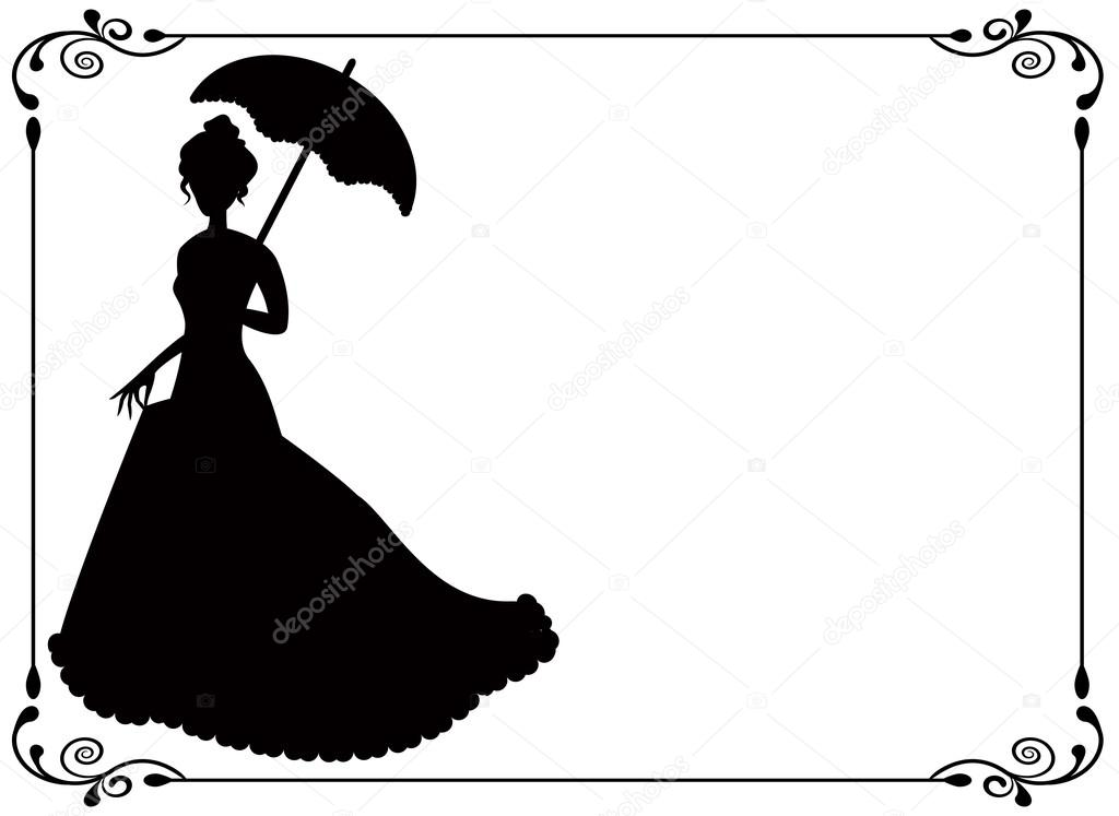 Silhouette of a woman with umbrella and long dress  umbrella and vintage frame with swirls — Stock Vector #21026201
