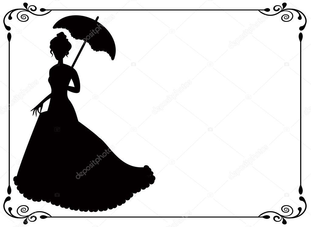 Retro Mujer Con Sombrilla Y Marco