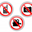 Stock Vector: Prohibiting signs with telephone, video and photo camera