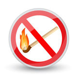 Prohibited sign with a burning match — Stock Vector