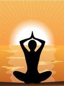 Silhouette of a woman doing yoga — Stock vektor