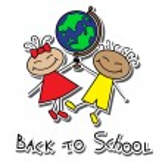 Cartoon boy and girl with globe — Stock Vector #26553955