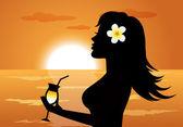 Woman on the Beach — Stock Vector